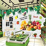 MGQSS Foto Wallpaper Wandgemälde Kaufen Sie einen Dessertladen für frische Obst- und Gemüsesaftgetränke 3D Selbstklebend Retro Industriestil Thema Poster modern Kunst Mauer Dekoration (B)300x(H)210 cm