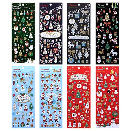 LEMESO Christmas Scrapbook Glitter Stickers, 8 Sheets Christmas Stickers, Slef Adhesive Christmas Stickers, Kid's Favor Cute Stickers, Xmas Kid's Gift, Decorative Xmas Sparkling Stickers