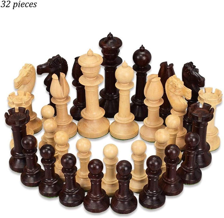 PIAOLING Hochwertiges Schach Kreative 34 Stücke Beige & Braun Holz Dame Schachfiguren Kinder Intellektuell Entwicklung Lernen Spielzeug Holz Schach Dame Kind Erwachsener (Farbe   Beige+braun)