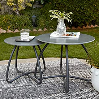 Direct Home Modern Industrial Gray Black Set of 2 Concrete Top Patio Side Tables Nesting End Tables Outdoor Pool Patio Deck Furniture