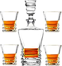 Almagic Whiskey Decanter with 4 Old Fashioned Glass Set Gift for Bourbon, Whiskey Gift Box for Father Husband (With 12 Gra...