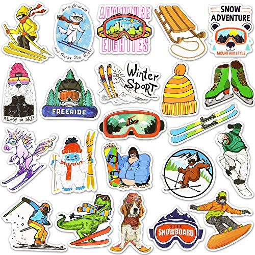 Ski Stickers and Decals Skiing Stickers Ski Helmet Stickers Snowboard Stickers and Decals Sports Stickers Winter Stickers for Kids(50 Pcs)