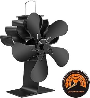PYBBO 5 Palas Ventilador de Estufa de Leña, Tamaño Pequeño, Ventilador de Chimenea Silenciosa, Para Estufas de Combustión de Gas, Pellet, Madera, con Termómetro