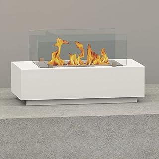 bergamo mobiletti - Chimenea de mesa de bioetanol para interior y exterior, tamaño 60 cm, color blanco, quemador de seguridad 405