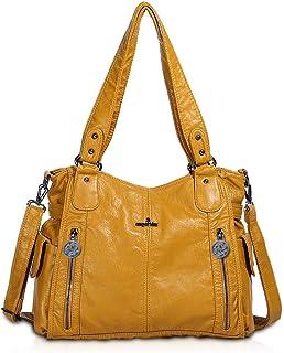 NICOLE & DORIS Damen Handtaschen Groß Retro Schultertasche Hobo Bag Leder Frauen Umhängetasche Gelb