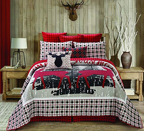 """Regal Comfort Virah Bella Chic Printed 3pc Quilt Set, Merry Christmas Reindeer Full/Queen Bed Sheets Design (90"""" X 90"""", Christmas Plaid Red White) Holiday Bedding"""