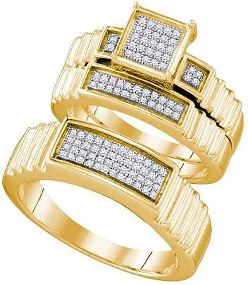 Dazzlingrock Collection 0.30 Carat (ctw) 10k Round White Diamond Men's & Women's Bridal Fashion Ring Trio Set 1/3 CT, Yellow Gold