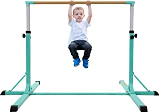 MaxKare Gymnastics Bar Horizontal Bar Junior Training Equipment High Bars Upgraded with 13-Level Adjustable Height, Double Lock & Triangle Supports Kip Bar for Kids Indoor Outdoor Use (Green)