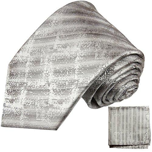 Cravate homme argent gris ensemble de cravate 2 Pièces (longueur 165cm)