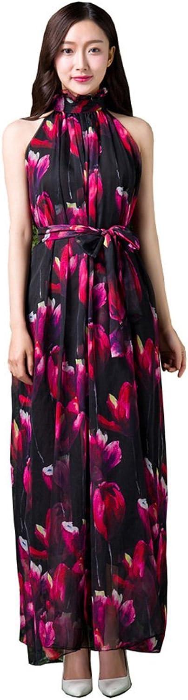 Guyu Women's Stand Collar Flower Printed Maxi Dress