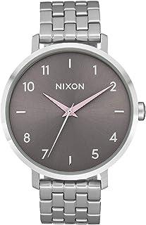 NIXON Arrow A1090 - فضي/رمادي/وردي شاحب - ساعة تناظرية كلاسيكية مقاومة للماء 50 متر (وجه ساعة 38 مم، سوار ستانلس ستيل)