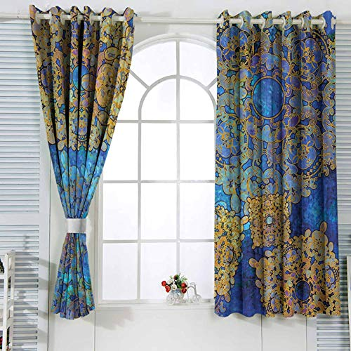 Treatments Window Curtain Traditional Persian Motif Oriental Moroccan Effects Exotic Style Boho Design Grommet Blackout Draperies for Patio 63 x 63 inch