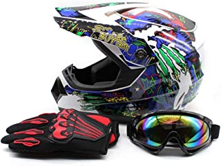 SD&ZC Youth Kids Offroad Gear Combo Helmet Gloves Goggles DOT Motocross Off-Road Racing ATV Dirt Bike Protector (#2, L)