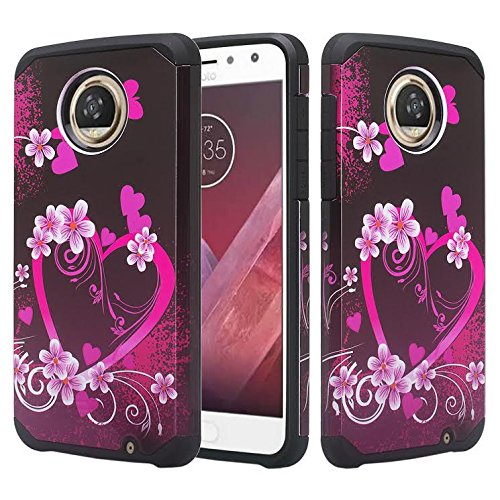Motorola Moto Z2 Force Case,[Shock Absorption/Impact Resistant] Diamond Rhinestone Hybrid Dual Layer Armor Defender Protective Case Cover for Moto Z2 Force - Hot Pink Heart