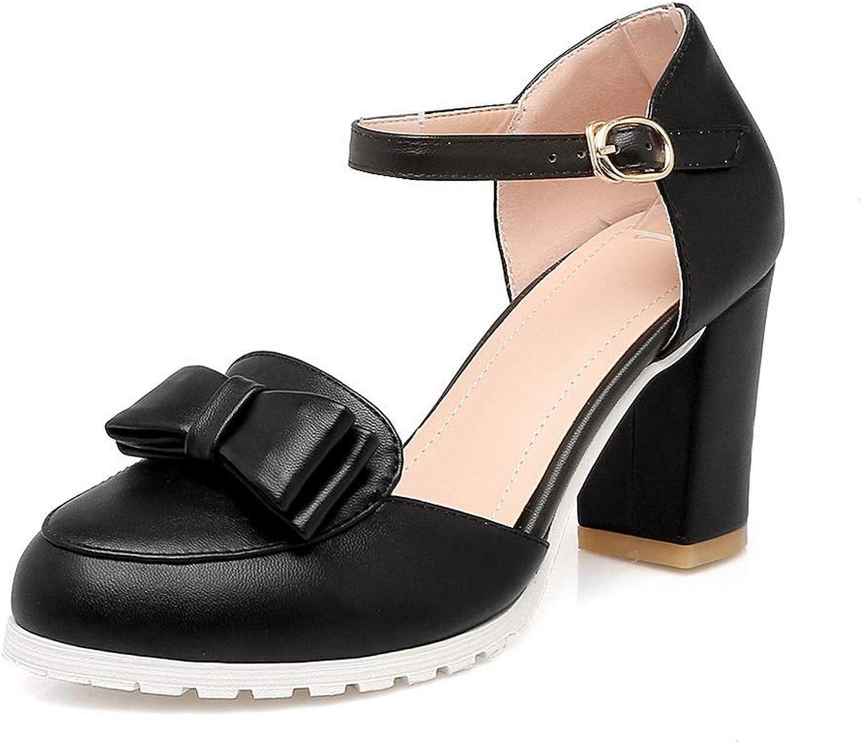 AN Womens Square Heels Chunky Heels Buckle Urethane Pumps shoes DGU00697