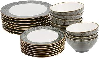 ProCook Napa - Vaisselle de Table en Porcelaine Blanche - 24 Pièces/Pour 8 Personnes - Petite Assiette, Grande Assiette & ...