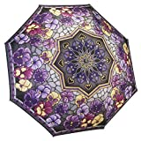 Galleria Reverse Close Folding Umbrella Stained Glass Pansies-art on both sides.