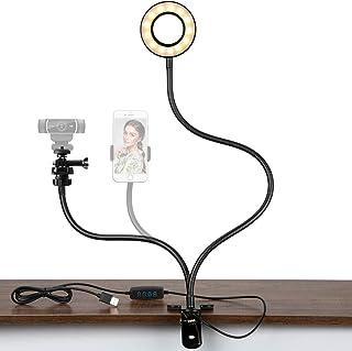 STORAGEGEAR Webcam Stand, Phone Holder Mount with Selfie Ring Light for Live Stream, Suit for Logitech C925e, C922x, C930e...