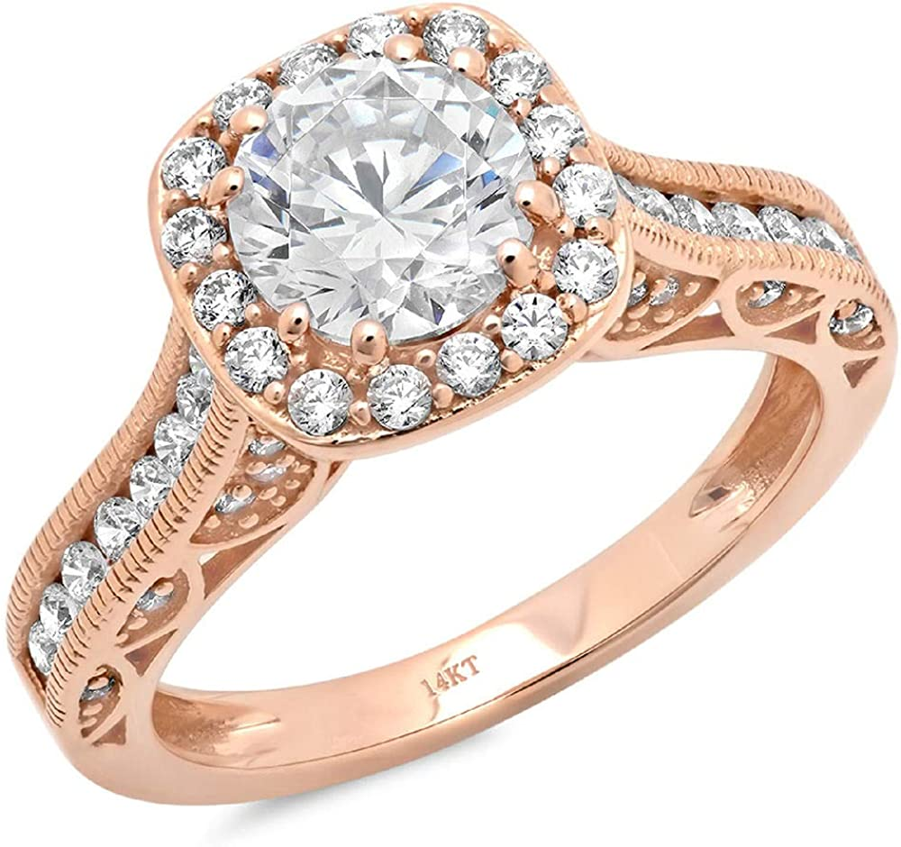 1.95 ct Brilliant Round Cut Solitaire Accent Halo Genuine Flawless Moissanite Gemstone Engagement Promise Statement Anniversary Bridal Wedding Ring Solid 18K Rose Gold