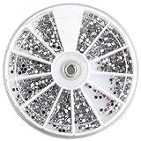 3000 PZ Strass Tondi Glitter Cristallo per Ricostruzione Unghie 2mm + Ruota