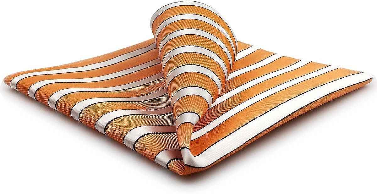 S&W SHLAX&WING Stripes Orange White Pocket Square for Men Large Party