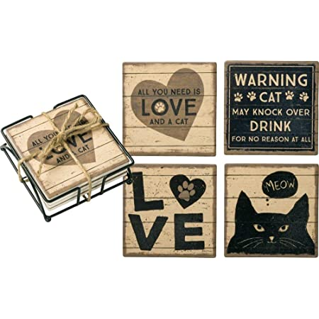 Set of 4 Dog Coasters I Woof You Comical Sayings BNWT Love me Love my Dog