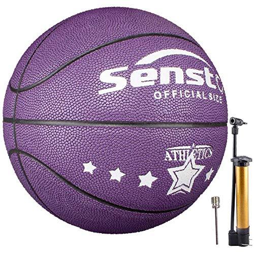Senston Balon Baloncesto Fluorescente Balon de Baloncesto Pelota Baloncesto de Cuero Sintético de Tamaño 5