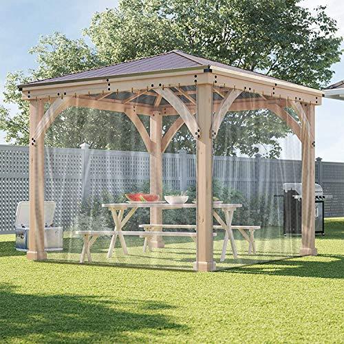 Cortina de lona transparente para exteriores, impermeable, resistente a la intemperie, para pérgola, porche, cenador, cabaña, interior con ojales inoxidables (7 x 8 pies)