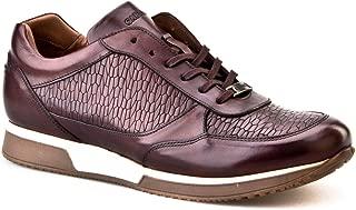 Cabani Croco Baskı Bağcıklı Sneaker Erkek Ayakkabı Kahve Analin Deri