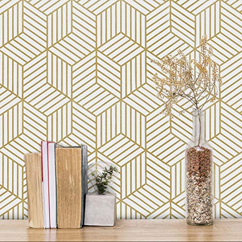 """Gold and White Geometric Wallpaper Peel and Stick Wallpaper Hexagon Removable Self Adhesive Wallpaper Gold Stripes Geometric Paper Vinyl Film Decorative Shelf Drawer Liner Roll Waterproof 17.7""""×118"""""""