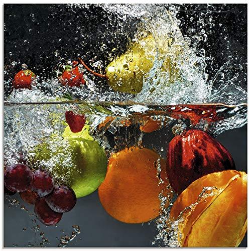 Artland Glasbilder Wandbild Glas Bild einteilig 30x30 cm Quadratisch Früchte im Wasser Obst Frucht Cocktails Erdbeere Orange Limette Zitrone S7LQ