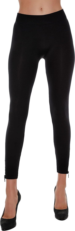 Belldini Women's Fashion, Seamless Leggings for Women with Rhinestone Zipper Embellishments at Ankle
