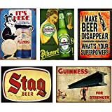 FlowerBeads Tin Bar Signs Funny Stag Beer Wall Decor, Metal Art Bar Pub Poster Metal Painting Decoration - 5PCS 20X30Cm