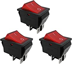 mxuteuk 3pcs AC110V Red Light Illuminated Snap-in Boat Rocker Switch Toggle Power DPST ON-Off 4 Pin AC 250V 15A 125V 20A, Use for Car Auto Boat Household Appliances 1 Years Warranty MXU2-201NR