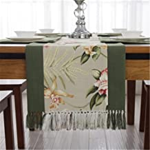 "JYQ Classic Floral Cotton Table Cloth Runners with Tassels (15"" x 72"", Green-Champaign Gold)"