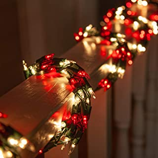 9' Red and White Garland Lights on Green Wire – Garland Outdoor Lights Garland Christmas Outdoor Lights, Garland String Lights (9 Ft, 300 Lights, Red/White Lights on Green Wire)