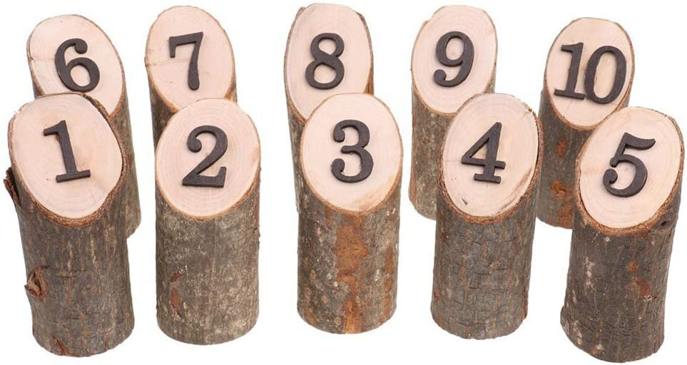 Amyove Log-Shape Wooden Number 1-10 C Table Seat Milwaukee Mall Cards Reception Popular popular