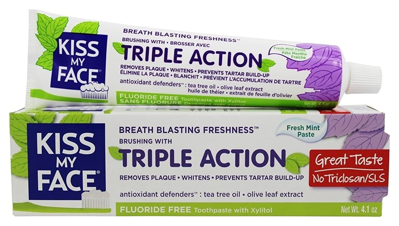 送るいじめっ子ペインギリックKiss My Face - 三重の行為の歯磨き粉のフッ化物の自由なフレッシュミント - 4.1ポンド [並行輸入品]