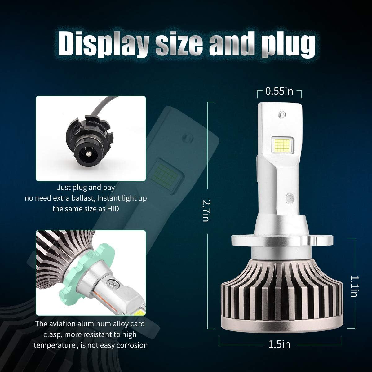 D4S D4R Led Headlight Bulb Conversion Kit 50W 10000LM Plug Play to Original D4S D4R D4C HID Ballast Canbus Error Free 6000K White