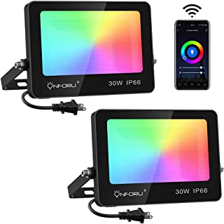 Onforu 30W Smart RGB Flood Lights, Color Changing WiFi LED Floodlight, Work with Alexa, APP Control Wall Washer Light with...