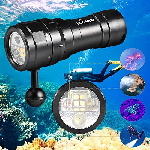 Volador Tauchlampe, 3000Lumen Tauchen Taschenlampe, Video Fotografie Taschenlampe, Dimmbarem Licht+UV-Rotlicht,100M Unterwasser Scuba Photo Fill Beleuchtung, Submarine Licht+26650 Batterien+Ladegerät