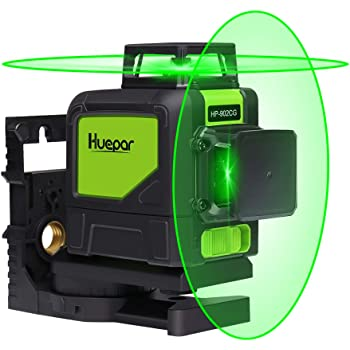 Huepar 902CG Self-Leveling 360-Degree Cross Line Laser Level with Pulse Mode, Switchable Horizontal and Vertical Green Beam Laser Tool, Magnetic Pivoting Base Included