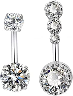 14G Surgical Steel Belly Button Rings Sparkly Round Clear CZ Navel Curved Barbell Studs Sexy Body Piercing Set for Women Girls