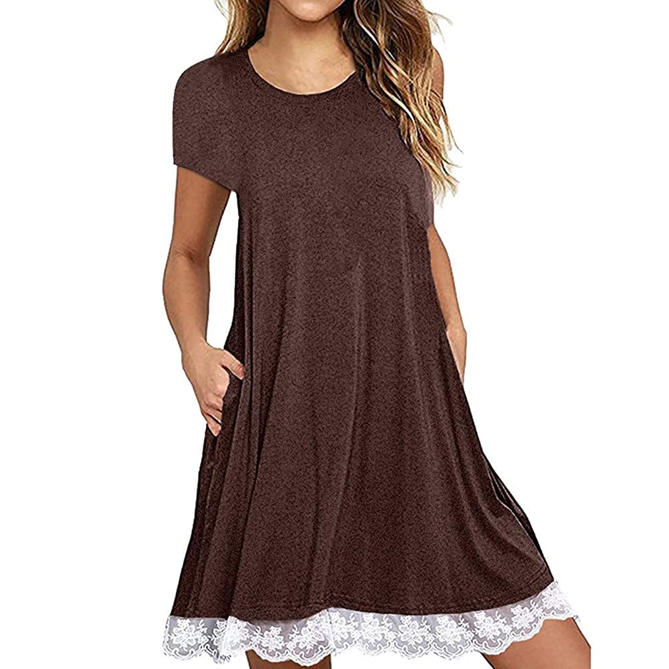 Jebess Women O Neck Casual Daily Life Lace Short Sleeve Above Knee Solid Dress Loose Party Dress