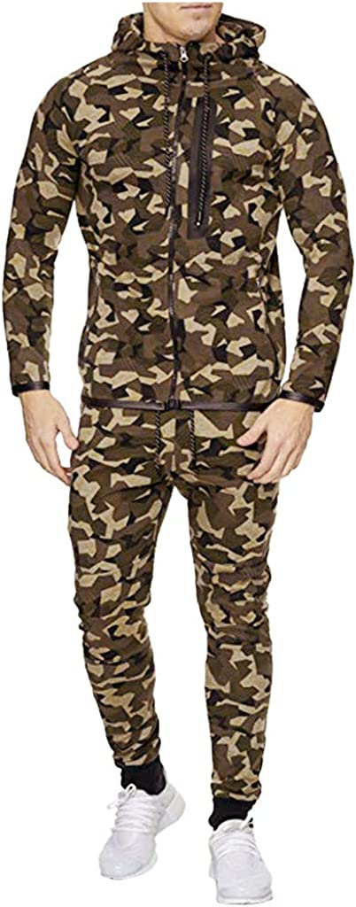 Men's Hooded Athletic Tracksuit Camouflage Sweatshirt Full Zip Casual Joggers Sports Suit - Limsea