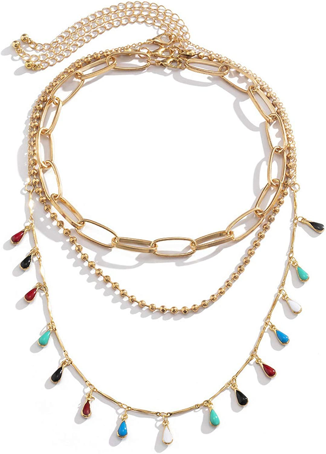 U/K 2-3 Pcs Layered Bohemian Colorful Beaded Choker Necklaces for Women Teen Girls Boho Retro 14K Gold Plated Link Chain Candy Color Beads Tessal Collar Clavicle Necklace Geometric Jewelry