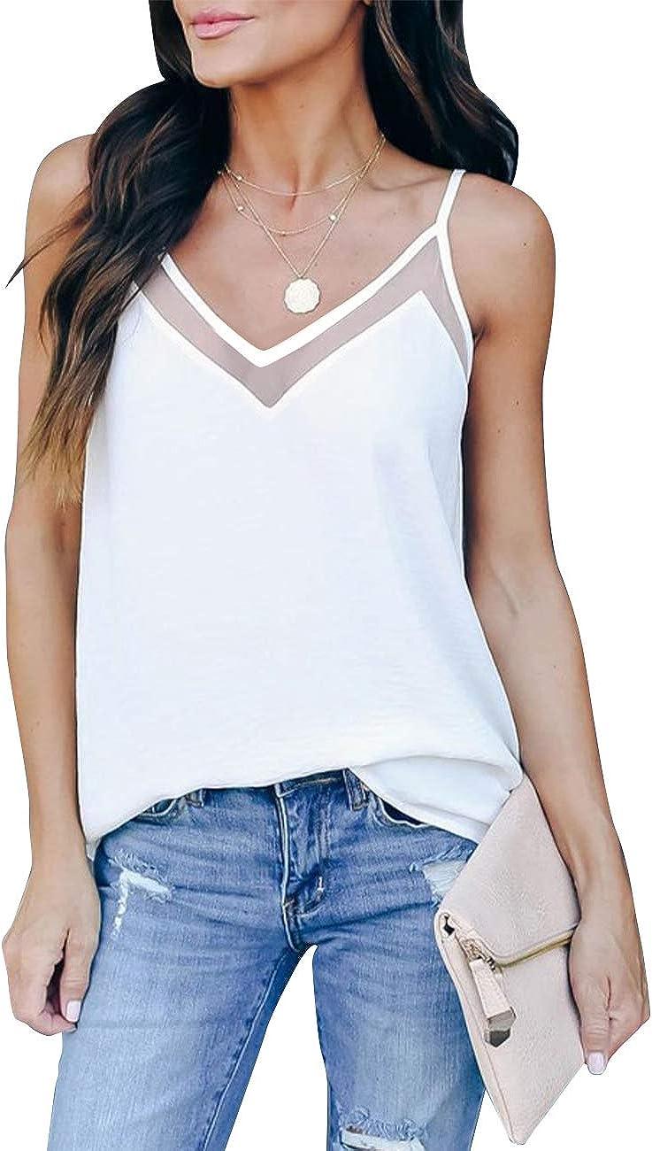 GOORY Women's V Neck Tank Tops Casual Spaghetti Strap Cami Summer Sleeveless Shirts
