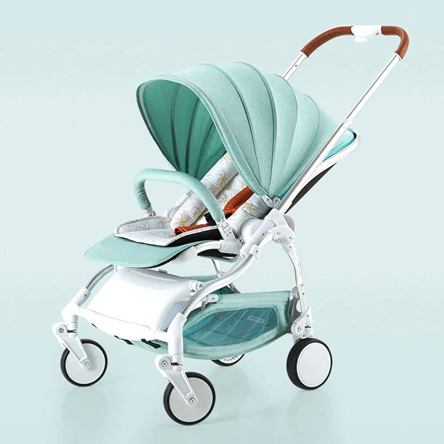 RAQ Baby strollers Aluminum alloy ultralightweight folding can sit can lie high landscape umbrella baby trolley (color   A)