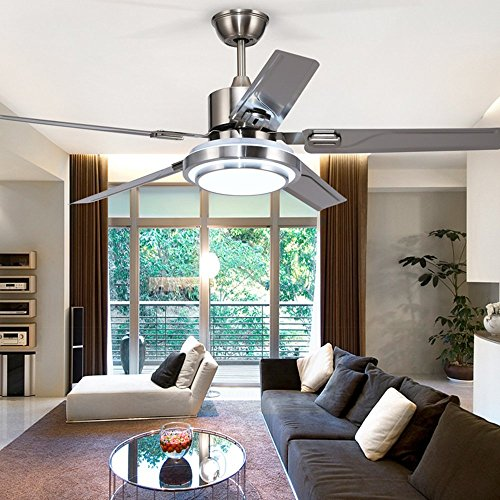 Andersonlight 42-Inch Modern LED Ceiling Fan 5 Stainless Steel Blades and Remote Control 3-Light Changes Indoor Mute Energy Saving Fan Chandelier for Home Decoration