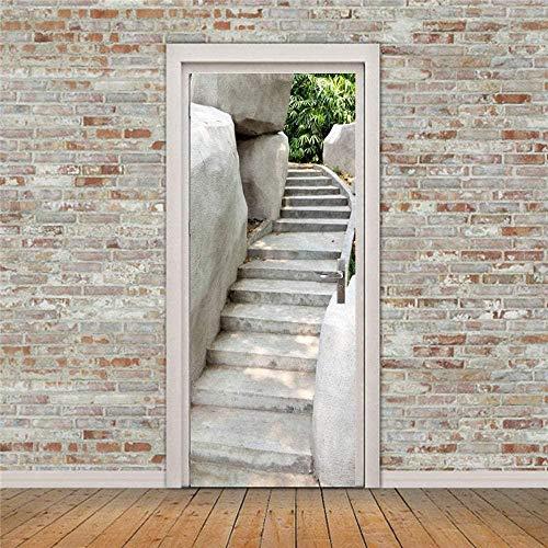 EtiquetaDeLaPuerta Pegatinas De Puerta 3D Para Puertas Interiores Pegatinas De Pared Autoadhesivas De Pvc Para Decoración Del Hogar 77 * 200 Cm Escaleras De Parque